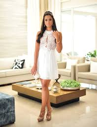 wholesale vestido para festa curto white pearls lace short