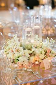 Centerpieces For Wedding Reception White Flower Floating Candle Wedding Reception Centerpiece