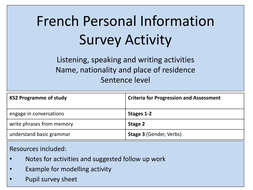 french personal information listening speaking writing activity