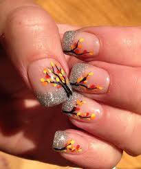 girly diy silver glitter nails leaf stickers ideas 2014