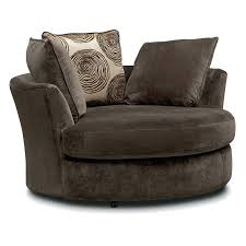 extra large round swivel chair chocolate value city furniture and