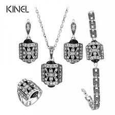 silver crystal vintage necklace images 5 pcs set fashion antique silver plated crystal vintage jewelry set jpeg