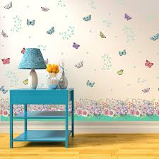 salesdecor wall stickers uk wall art stickers kitchen wall wfx5301 summer flowers and butterflies skirting