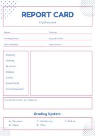 preschool report card template pink and blue simple dots preschool report card templates by canva