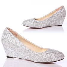 silver wedding shoes wedges closed toe wedge pumps lace wedding shoes with almond toe 5cm high