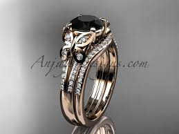 butterfly rings gold images Butterfly rings rose gold black diamond wedding set adlr514s jpg