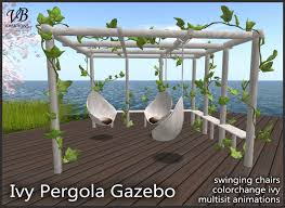second life marketplace sculpted ivy pergola gazebo with hanged