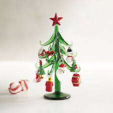 glass tree with ornaments collectible 18 cheap