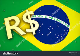 Blue Flag With Yellow Circle Brazils Economy Concept Brazilian Flag Real Stock Illustration