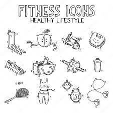 hand drawn doodle sketch icons set fitness and sport concept