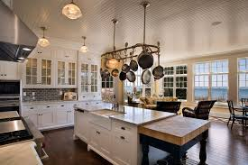 Kitchen Island With Hanging Pot Rack Milwaukee White Cinder Block Kitchen Style With Transom