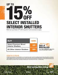 interior shutters home depot save up to 15 select installed interior shutters minimum