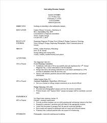 Examples Of Resume For College Students by Resume Template For Internship Internship Sample Resume
