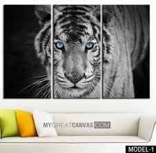 large wall art canvas blue eyed tiger print tiger art canvas