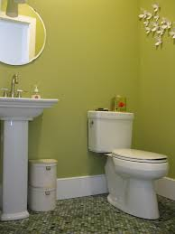 powder room with mixed jade penny tile floor featured on houzz