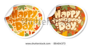 happy thanksgiving stickers form speech bubbles stock vector