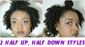2 curly half up half down styles for short natural hair feat