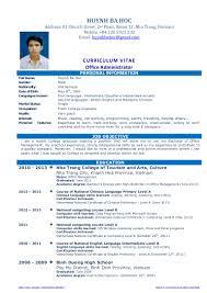 Secretary Cv Example Cv Resume Sample For Fresh Graduate Of Office Administration