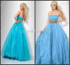 uk puffy prom dress strapless empire long light blue organza ball