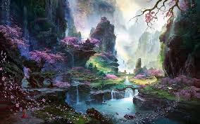 fantasy art asian architecture cherry blossom wallpapers hd