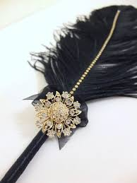 wedding guest book pen large black feather pen with gold sunflower brooch