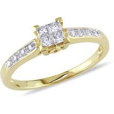 yellow gold diamond rings miabella 1 4 carat t w princess cut diamond 10kt yellow gold