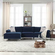 fabric sectional sofas with chaise amazon com divano roma furniture modern large velvet fabric
