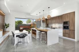 Kitchens With Island Benches Feature Wall Iscustom Made Timber Veneer Floor Is Polished