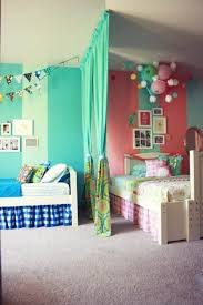 Curtain Room Divider Ideas by Teenage Girls Sharing Bedroom Furniture Design With Green Long