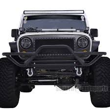 jeep front grill guard 2007 2017 jeep wrangler jk black rock crawler tubular front bumper