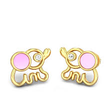 earrings for kids diamond yellow gold 14k baby elephant diamond stud