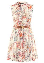 shop beige sleeveless floral belt chiffon dress online sheinside