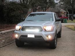tacoma grill light bar two led bars behind stock grill tacoma world