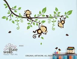 Nursery Monkey Wall Decals Monkey Decals With Large Jungle Tree Branch For Nursery Toodler