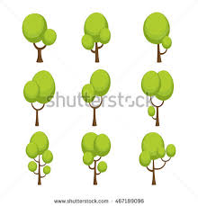 cute trees green trees 3d lowpoly isometric vector stock vector 387759640