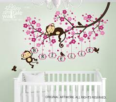 Nursery Monkey Wall Decals Cherry Blossom Tree Branch Wall Decal With Monkeys And Name