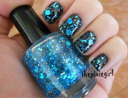 blue circle dot gold holographic glitter indie nail polish