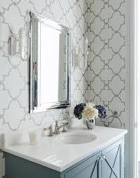 blue quatrefoil wallpaper gray bathroom with quatrefoil wallpaper transitional bathroom