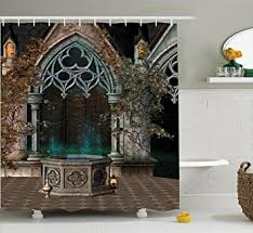 amazon com gothic house decor shower curtain set by ambesonne