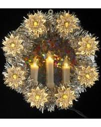 bargains on 8 lighted silver tinsel wreath and candle