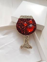 brooch goblet beaded wineglass embroidered bocal red wine
