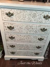 vintage painted shabby chic stenciled dresser by just the woods