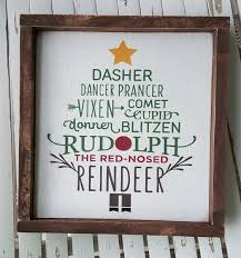 reindeer tree framed wood sign rudolph pole