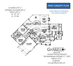 elevation and floor plan of a house nantahala cottage d 2797 house plans by garrell associates inc