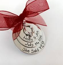 personalized engagement ornament she said yes
