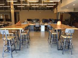 restaurant high top tables high top communal table made with steel legs and reclaimed wood top