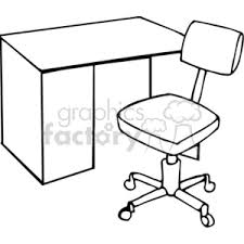 White Art Desk Royalty Free Black And White Outline Of A Desk And Chair 382535