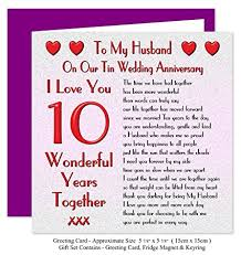 10 year anniversary card message my husband 10th wedding anniversary gift set card keyring