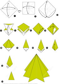 origami step by step instructions of a christmas tree free