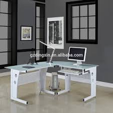corner glass computer desk pc table black white glass new l shape